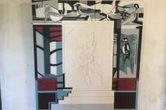 Resan, trärelief. 120x130cm